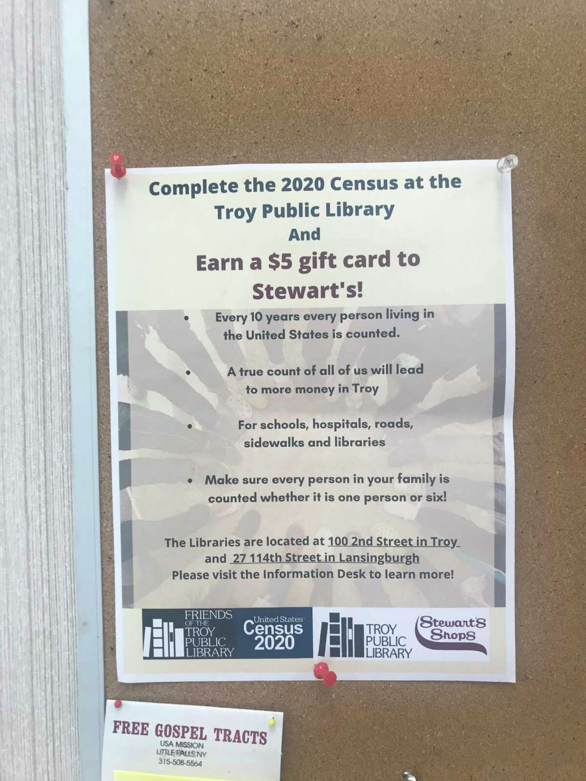 Flyer posted at the Stewart's Shop at 112th Street and Second Avenue in Troy, N.Y. promoting a $5 gift card for completing the 2020 Census questionnaire.