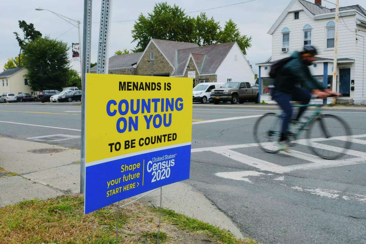 A sign about the Census is seen along Broadway on Wednesday, Sept. 23, 2020, in Menands, N.Y. (Paul Buckowski/Times Union)