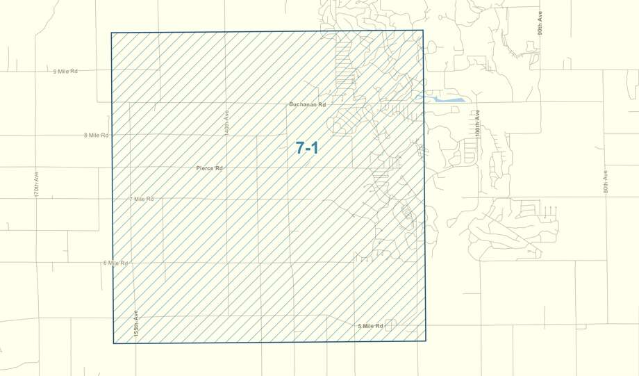This image, provided by the Michigan Department of Health and Human Services, shows the zone in Mecosta County to receive aerial treatment to combat EEE. Photo: Courtesy Of Michigan Department Of Health And Human Services