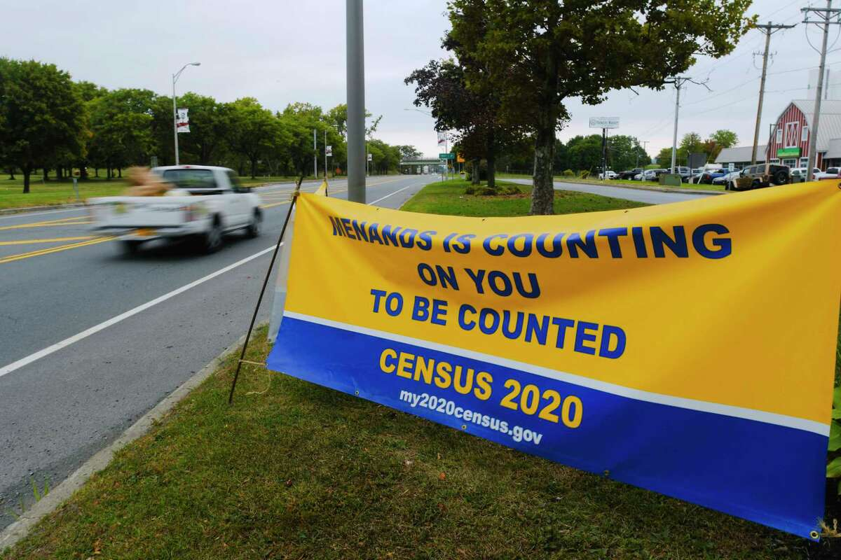 A large sign about the Census is seen along Broadway on Wednesday, Sept. 23, 2020, in Menands, N.Y. (Paul Buckowski/Times Union)