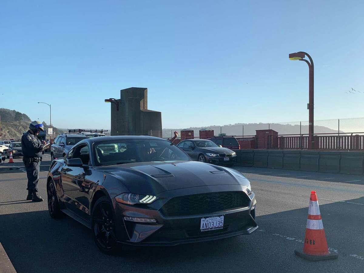 The driver of a Mustang tried slowing northbound traffic on the Golden Gate Bridge but was pulled over by California Highway Patrol, causing a slowdown as other drivers rubbernecked.