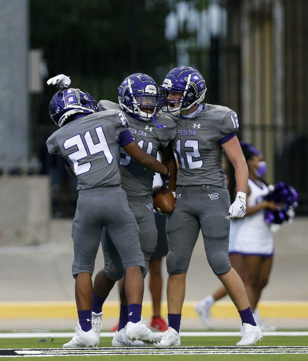 Klein Cain running back Aaron Jordan (34) celebrates with teammates after scoring a rushing touchdown against Bridgeland at Cy-Fair FCU Stadium on Thursday, Sept. 24, 2020, in Cypress, Texas.