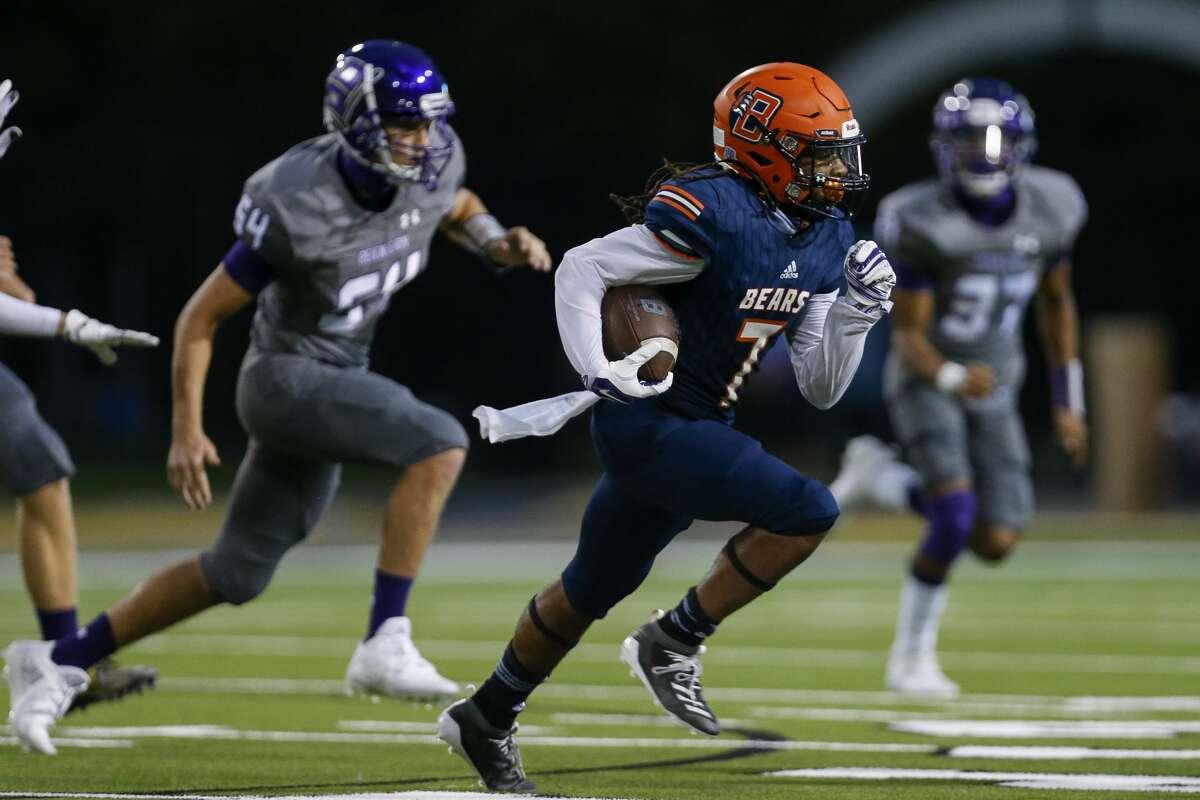 Bridgeland wide receiver Atrevion Hunter (7) runs the ball against the Klein Cain defense at Cy-Fair FCU Stadium on Thursday, Sept. 24, 2020, in Cypress, Texas.