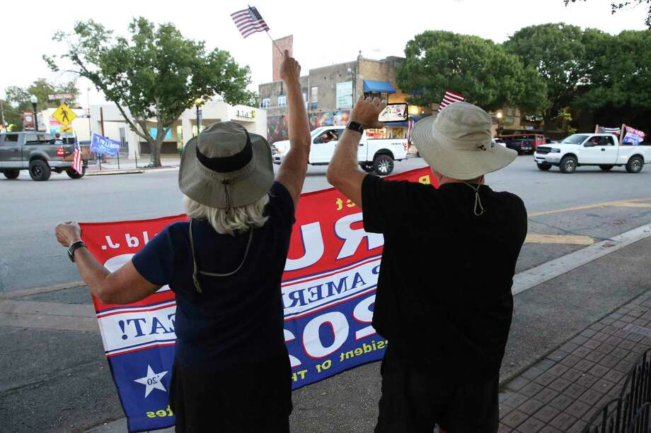 The Trump Train ends its parade at Main Plaza in downtown New Braunfels on Thursday. Photo: Tom Reel /Staff Photographer / **MANDATORY CREDIT FOR PHOTOG AND  SAN ANTONIO EXPRESS-NEWS/NO SALES/MAGS OUT/TV
