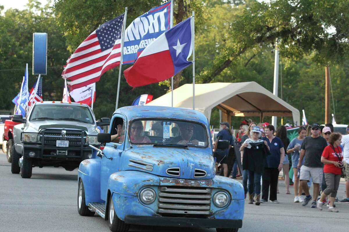 The Trump Train assembles in Gruene at Rockin' R, a tube rental business on the Guadalupe River, before heading to downtown New Braunfels on Thursday.