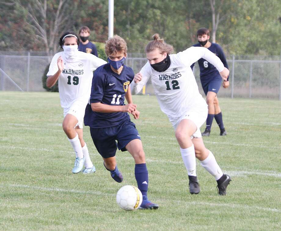 The Manistee soccer team fell to defending state champion Western Michigan Christian on Thursday at Chippewa Field. Photo: Dylan Savela/News Advocate
