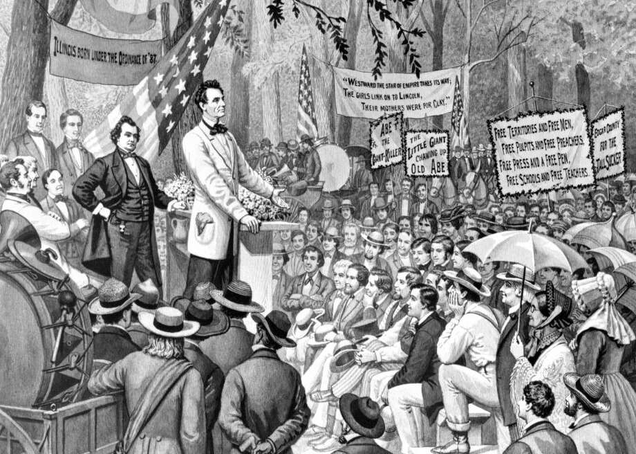 1858: Senatorial debate between Abraham Lincoln and Stephen Douglas Presidential debates in the United States were inspired by a famous Illinois senatorial debate in 1858 between Abraham Lincoln and incumbent Stephen Douglas that was held without a moderator or panel. As Douglas campaigned around Illinois, Lincoln attended his opponent's campaign speeches and heckled Douglas from the crowd. Lincoln's antics drummed up sufficient attention, and finally he and Douglass met for a three-hour debate during which the men discussed slavery and various conspiracy theories.  Douglas won the Senate seat, and Lincoln didn't participate in any debates in 1860 during his run for president. Nevertheless, the men's debate set a stage for the use of debates in future election cycles. The 2016 debates between Donald Trump and Hillary Clinton were likened by many historians to the Lincoln-Douglas debate of 1858. Photo: ClassicStock // Getty Images