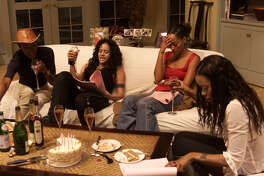 A day in the life of Girlfriends, UPN's comedy about four single women that has been called the black Sex In The City. Rehearsing a scene are (L-R) Jill Jones, Persia White, Tracee Ellis Ross, and Golden Brooks on the paramount studios set. Behind the scenes to see how the atmosphere and spirit of the show have changed since the terrorist attacks.this is part of sunday calendar upfront package. (Photo by Al Seib/Los Angeles Times via Getty Images)