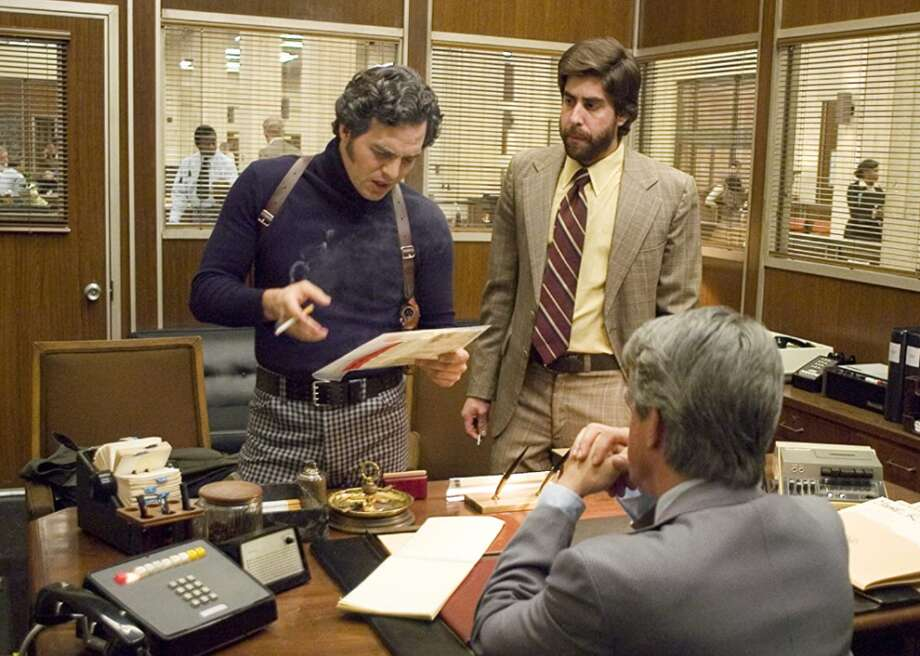"""#100. Zodiac (2007) - Director: David Fincher - Stacker score: 84 - Metascore: 78 - IMDb user rating: 7.7 - Runtime: 157 minutes  """"Zodiac"""" is based on the real story of a serial killer in the late 1960s in Northern California who sent coded messages to the San Francisco Chronicle newspaper. It stars Jake Gyllenhaal, Robert Downey Jr., Mark Ruffalo, and Anthony Edwards. The Zodiac killer was never found. Photo: Paramount Pictures"""