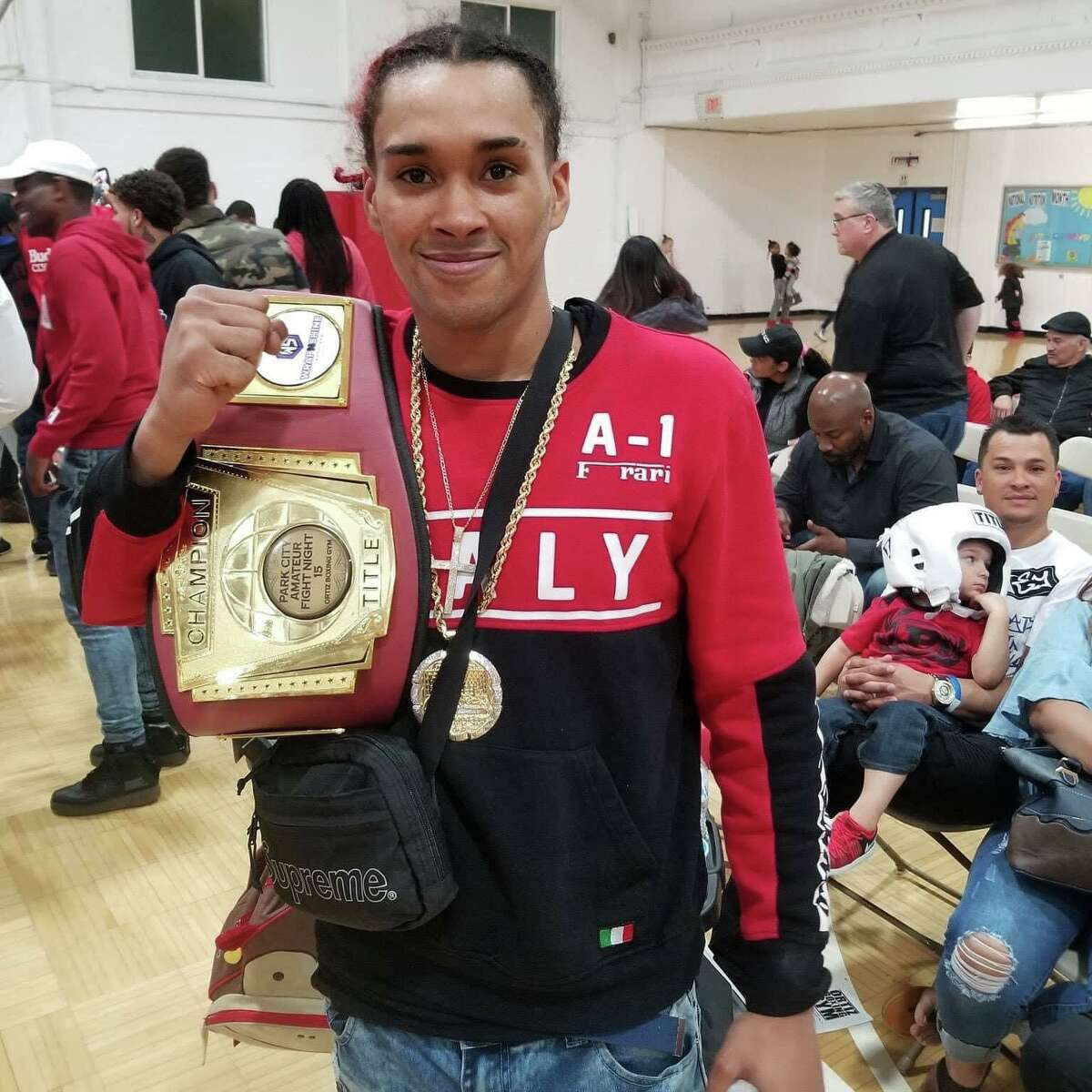 A photo shared by the Ortiz Boxing Gym in Bridgeport, Conn., of Raymond Sierra from a match. Sierra, 27, was fatally shot on Thursday, Sept. 25, 2020.