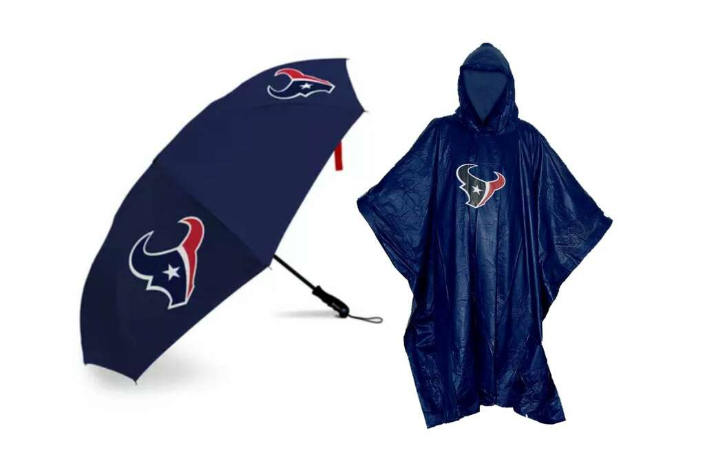 Show off your team spirit with this Texans-themed rain gear.