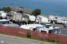 RV's are seen at San Francisco RV Resort June 3, 2020 in Pacifica, Calif.
