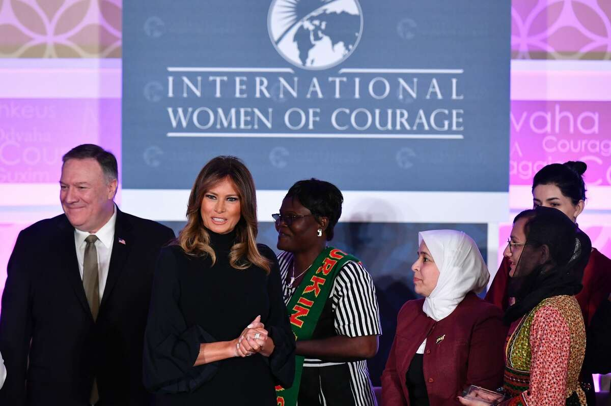 First Lady Melania Trump and US Secretary of State Mike Pompeo pose with award winners during the annual International Women of Courage (IWOC) Awards at the State Department in Washington, DC on March 4, 2020.