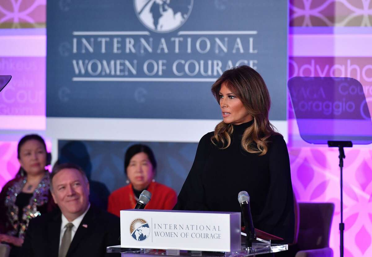 First Lady Melania Trump speaks during the annual International Women of Courage (IWOC) Awards at the State Department in Washington, DC on March 4, 2020 as Secretary of State Mike Pompeo (left) looks on.