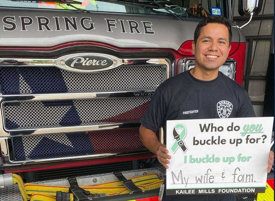 """The Spring Fire Department is among the first response agencies to participate in the Kailee Mills Foundation's new """"Who do YOU buckle up for?"""" campaign launched Sept. 14, 2020. Photo: Courtesy Of The Kailee Mills Foundation / Submitted"""