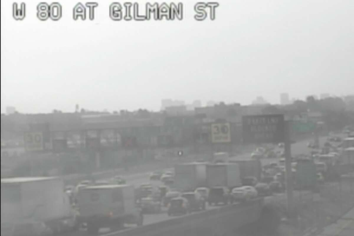 Three lanes of westbound I-80 are blocked in Berkeley.