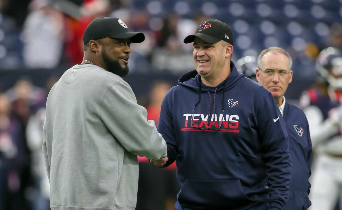 HOUSTON, TX - DECEMBER 25: Pittsburgh Steelers head coach Mike Tomlin and Houston Texans Head Coach Bill O'Brien greet each other while players warm up during the game between the Pittsburgh Steelers and Houston Texans on December 25, 2017 at NRG Stadium at Houston, Texas. (Photo by Leslie Plaza Johnson/Icon Sportswire via Getty Images)