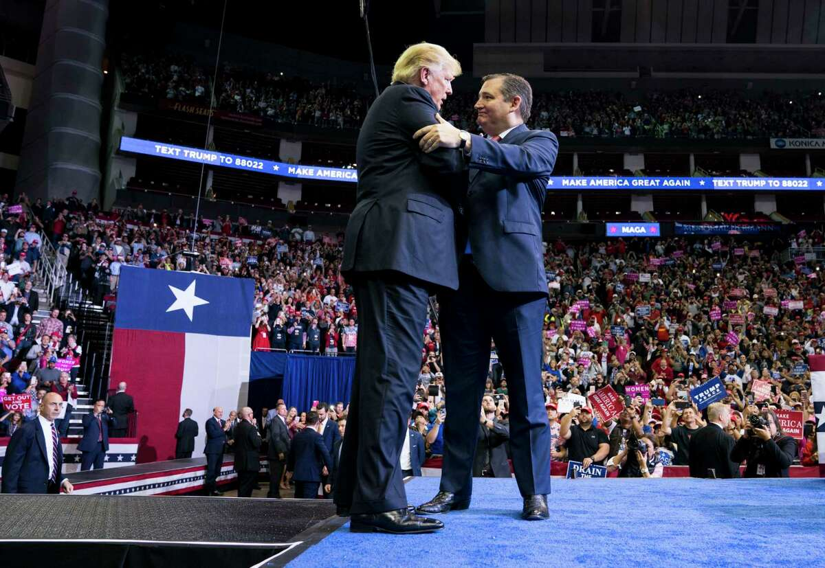 FILE - President Donald Trump meets with Sen. Ted Cruz (R-Texas) during a campaign event in Houston, Oct. 22, 2018. In 2016, the Texas senator addressed his fellow Republicans but declined to explicitly endorse President Donald Trump. One close Senate race and many conciliatory public comments later, he is on the sidelines this year. (Doug Mills/The New York Times)