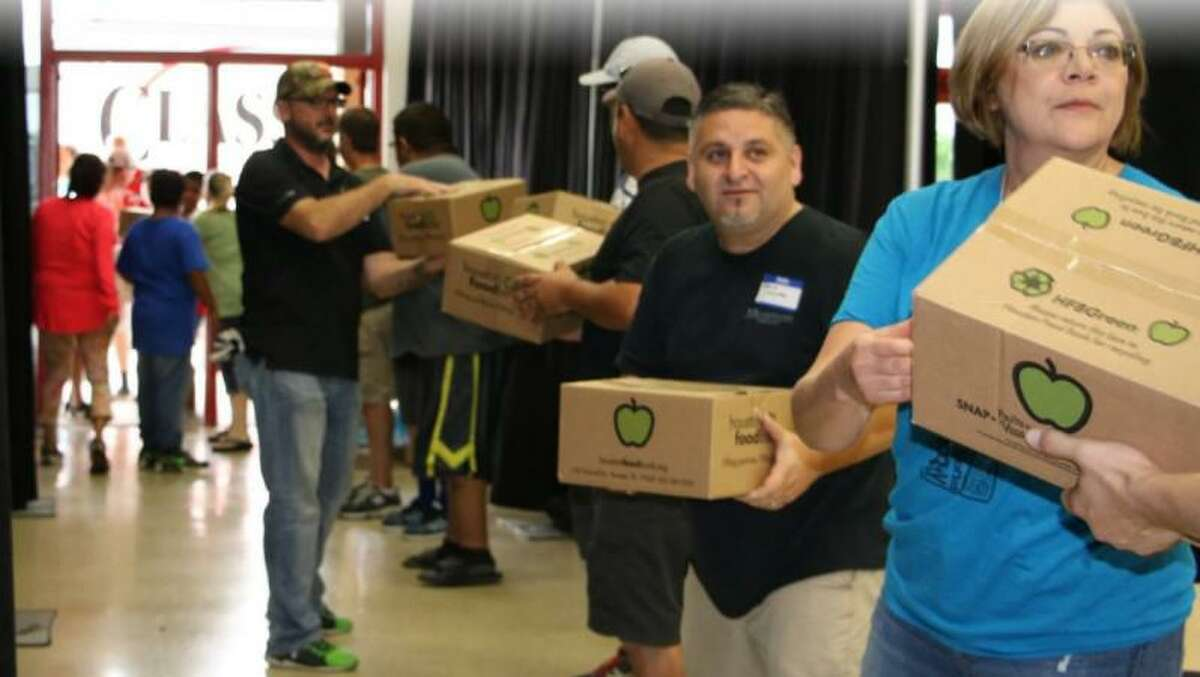 The donations management team with Fort Bend Recovers distributes donations after Hurricane Harvey.