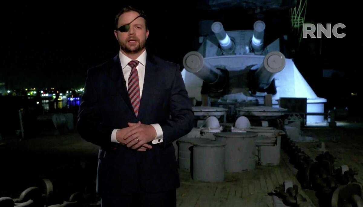 In a screenshot from the RNC's livestream of the Republican National Convention, Rep. Dan Crenshaw (R-TX) addresses the virtual convention on Wednesday, Aug. 26, 2020.(Courtesy of the Committee on Arrangements for the 2020 Republican National Committee/Getty Images/TNS)