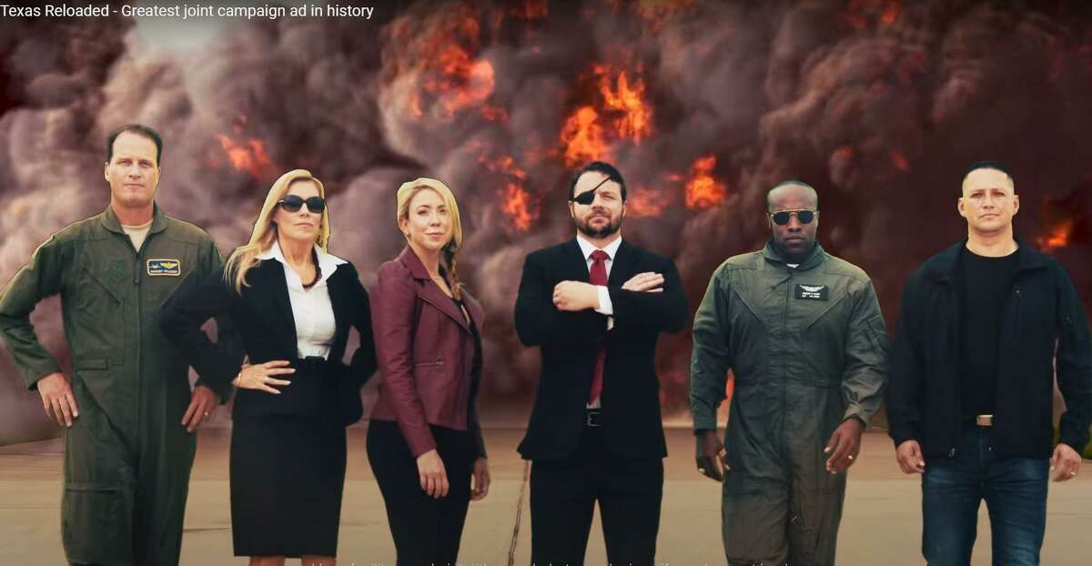 In a nearly 4-minute video clip, Rep. Dan Crenshaw, a retired Navy SEAL, recruits congressional candidates Wesley Hunt, August Pfluger, Beth Van Dyne, Tony Gonzales and Genevieve Collins to