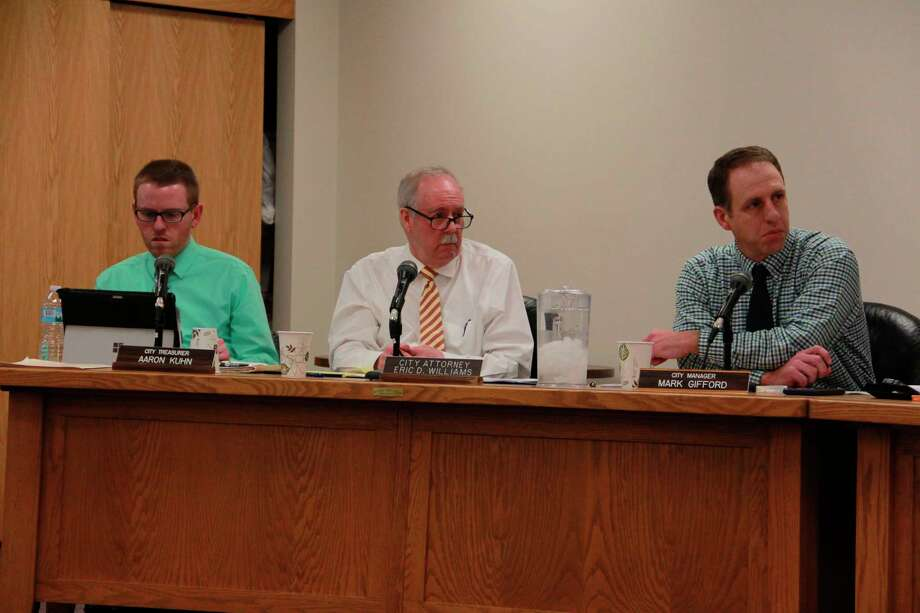 Big Rapids City Treasurer Aaron Kuhn informed and updated the commission Monday on the city's progress with COVID-19 grant opportunities. Featured is a photo from a previous commission meeting, before the coronavirus. (Pioneer file photo)