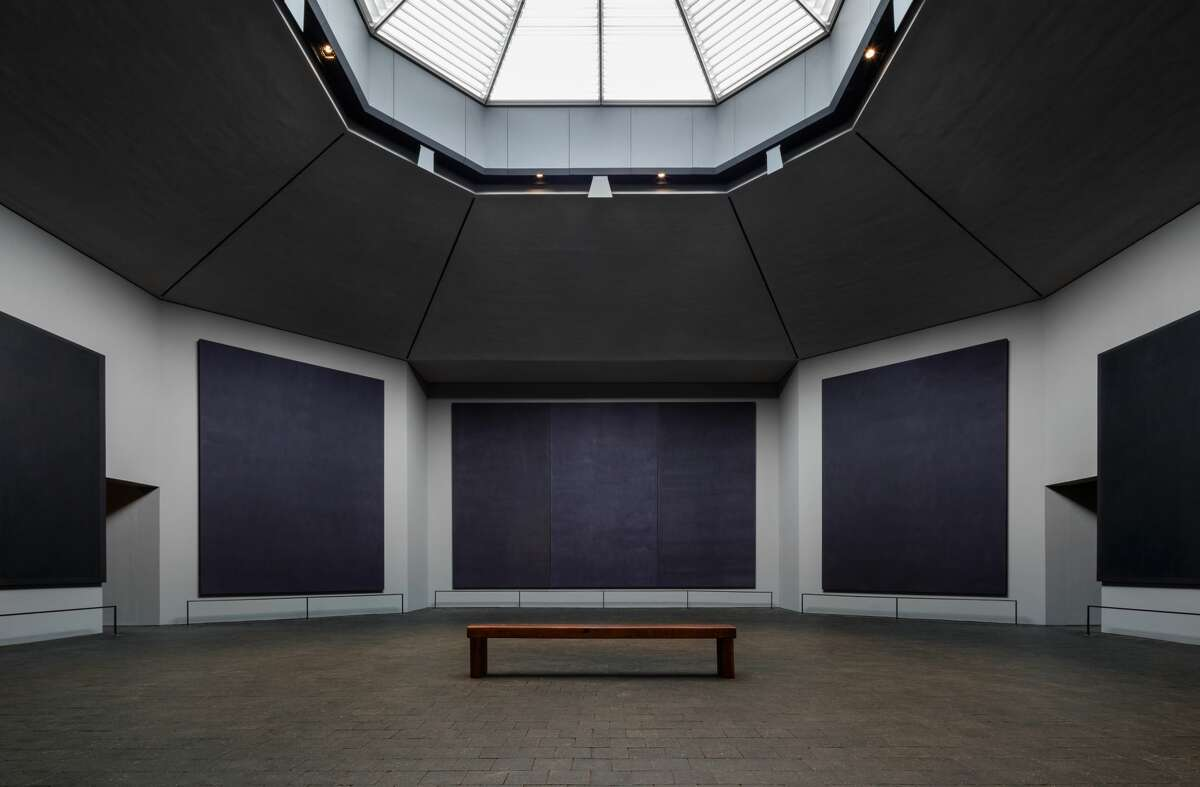 The Rothko Chapel's interior with a new skylight.