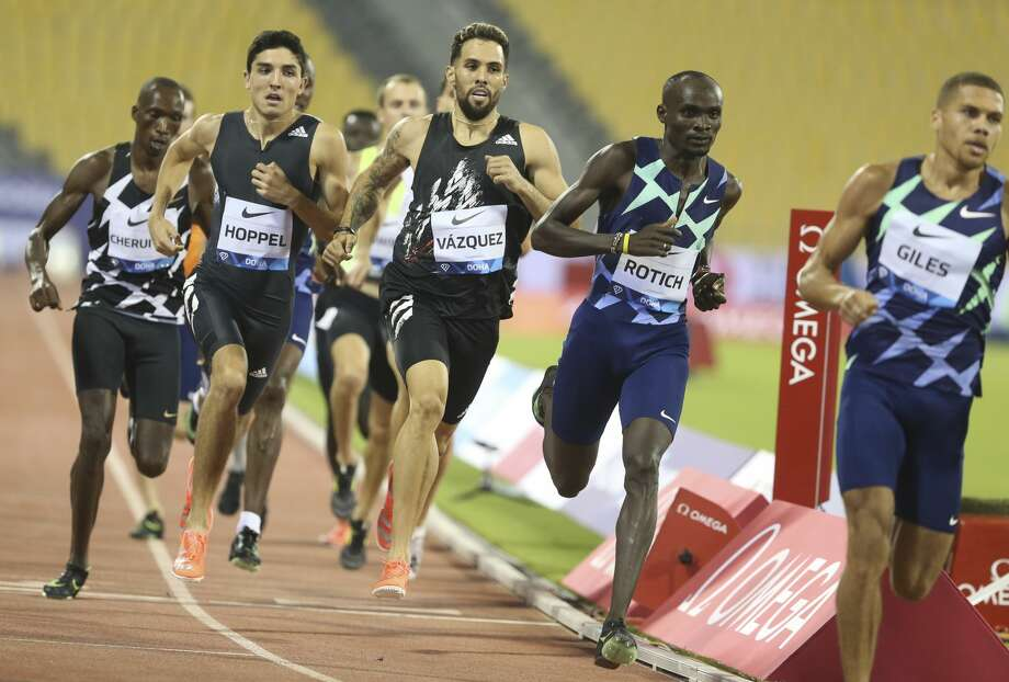 Ferguson Cheruiyot Rotich of Kenya, 2nd right, competes during the Men's 800m at the IAAF Diamond League in Doha, Qatar, Friday, Sept. 25, 2020. Midland High grad Bryce Hoppel is pictured in the black, second from left. (AP Photo/Hussein Sayed) Photo: Hussein Sayed/Associated Press / Copyright 2020 The Associated Press. All rights reserved.
