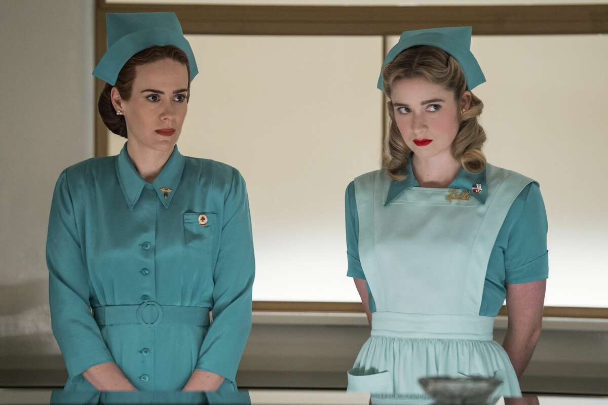 Sarah Paulson as Mildred Ratched and Alice Englert as Nurse Dolly in episode 101 of