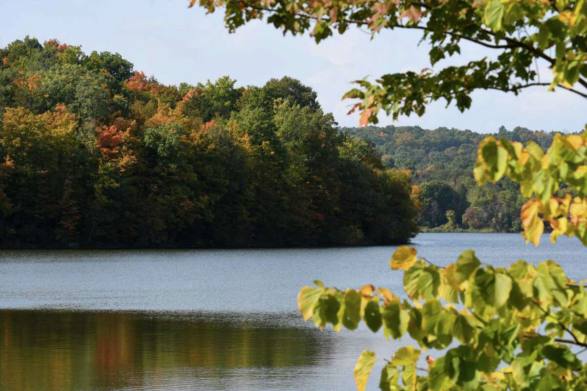 Fall colors begin to phases in at Basic Creek Reservoir on Friday, Sept. 25, 2020, in Westerlo, N.Y. The reservoir provides drinking water for the City of Albany. (Will Waldron/Times Union)