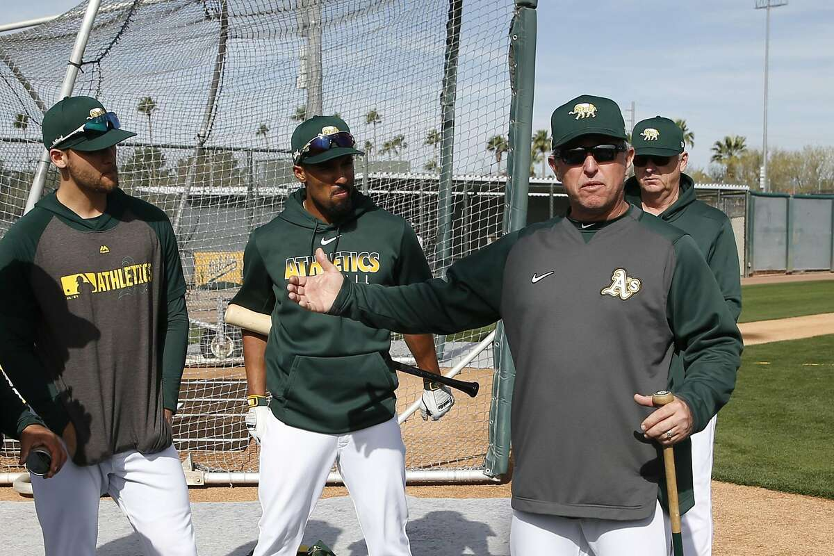 MESA, AZ - February 21: Hitting Coach Darren Bush #51 of the Oakland Athletics talks to batters during a workout at Fitch Park on February 21, 2020 in Mesa, Arizona. (Photo by Michael Zagaris/Oakland Athletics/Getty Images)