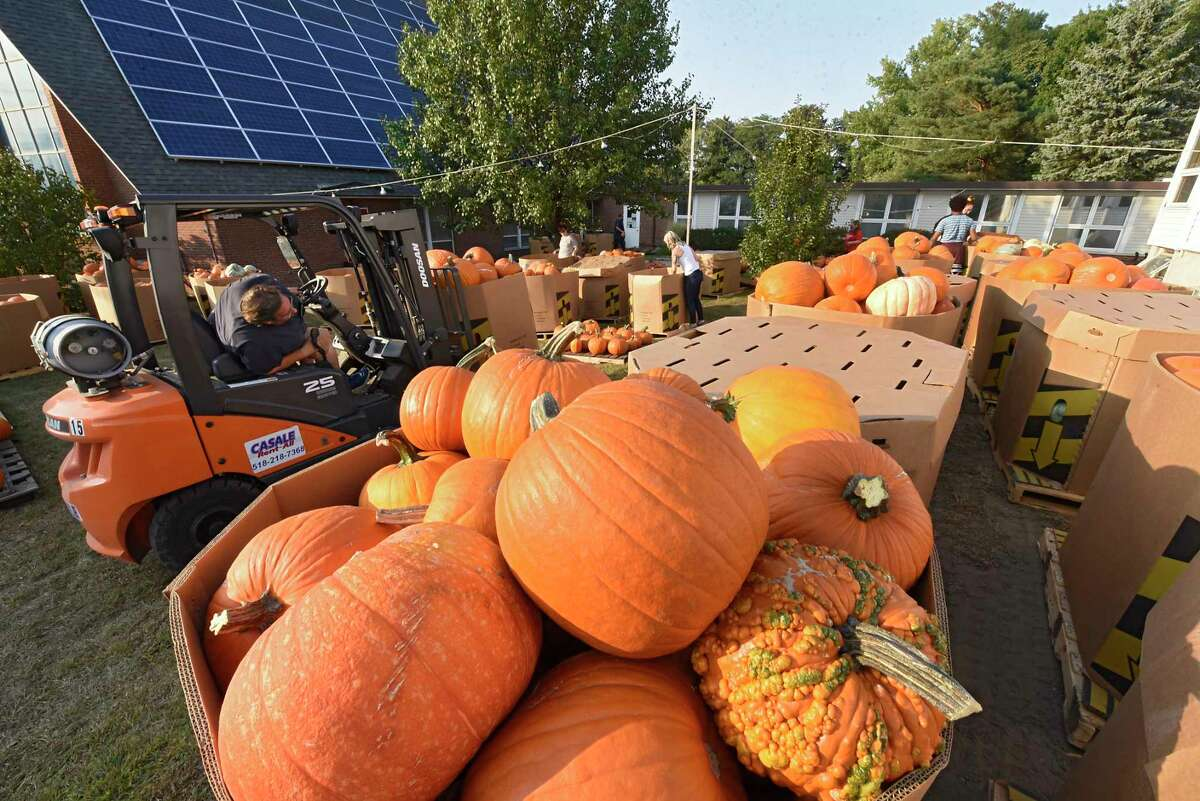 The massive amounts of pumpkins are delivered for sale to the McKownville United Methodist Church on Friday, Sept. 25, 2020 in Guilderland, N.Y. (Lori Van Buren/Times Union)