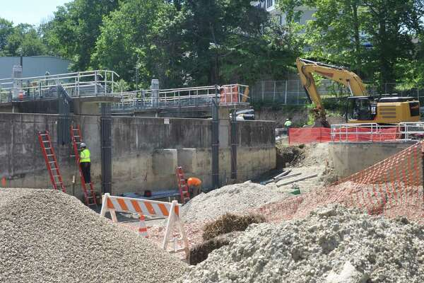 Work at the South Street sewer plant renovation project has mostly continued this summer, with one week in late August lost after a worker tested positive for COVID-19.