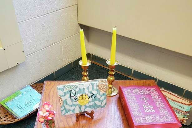 Pictured is the prayer corner of the atrium at Manistee Catholic Central. (Courtesy photo)