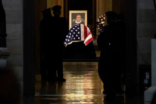 On Friday, Justice Ruth Bader Ginsburg became the first woman to lie in state at the U.S. Capitol. A week after her death, the honor marks the third day of services in Washington for Ginsburg, the second woman to serve on the high court and one who, in her 80s, became a cultural icon.