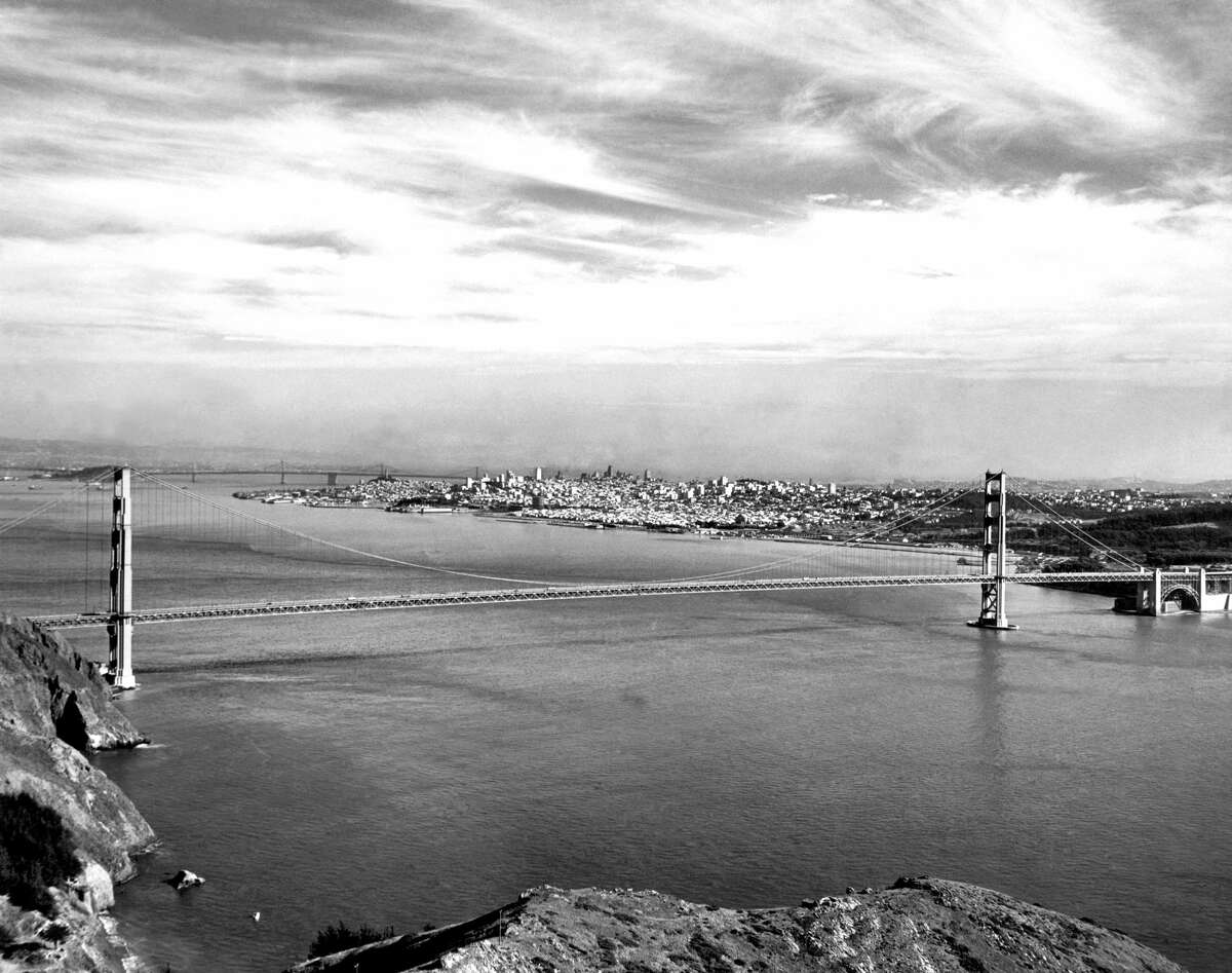 A view of the Golden Gate Bridge with San Francisco behind it in January 1947.
