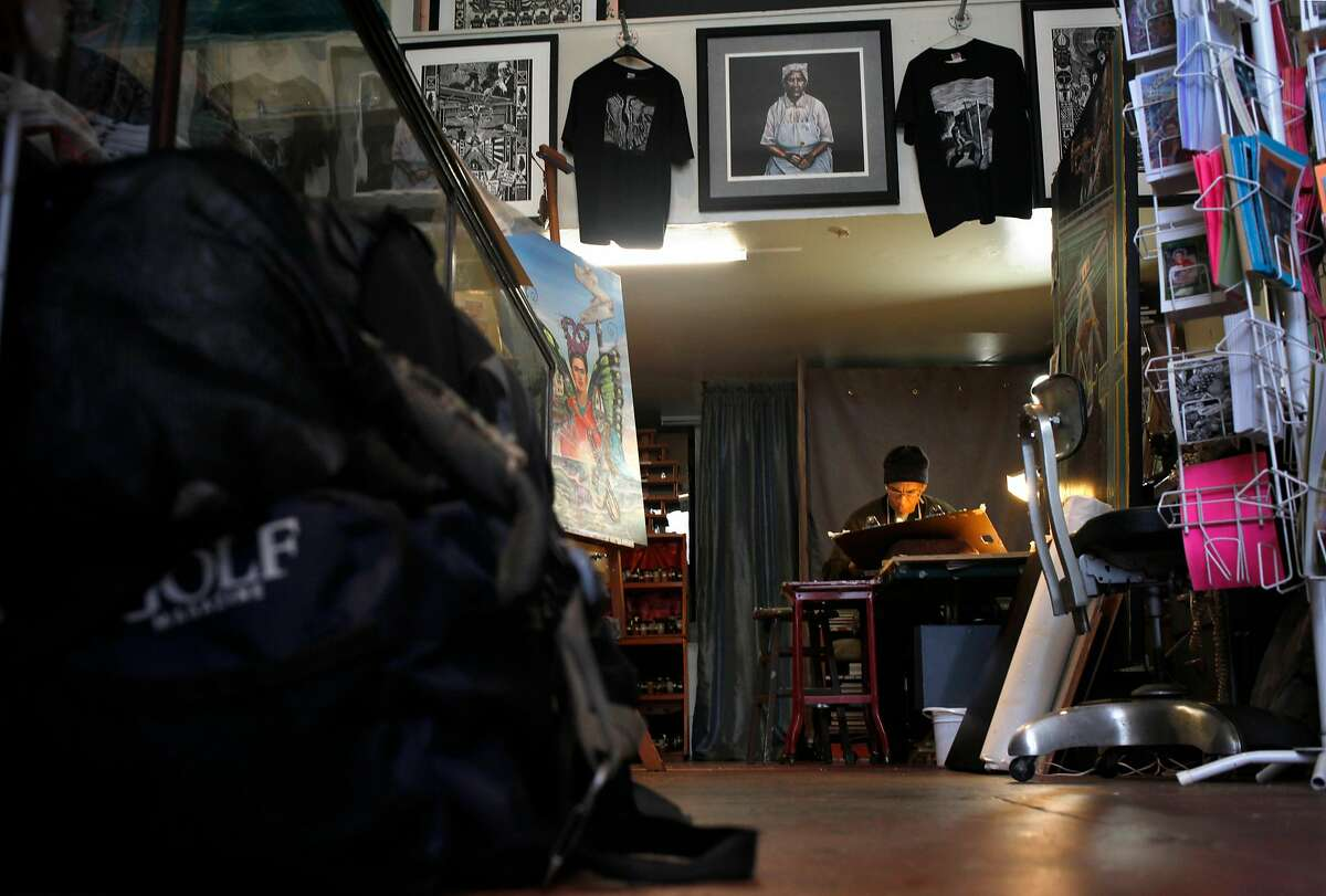 Ronnie Goodman works on his artwork at The Gallery in the Lower Haight, Thursday April 17, 2014, in San Francisco, Calif. Ronnie is homeless and is a serious runner training for marathons. He uses his running passion to keep himself focused and moving forward into stability and housing.