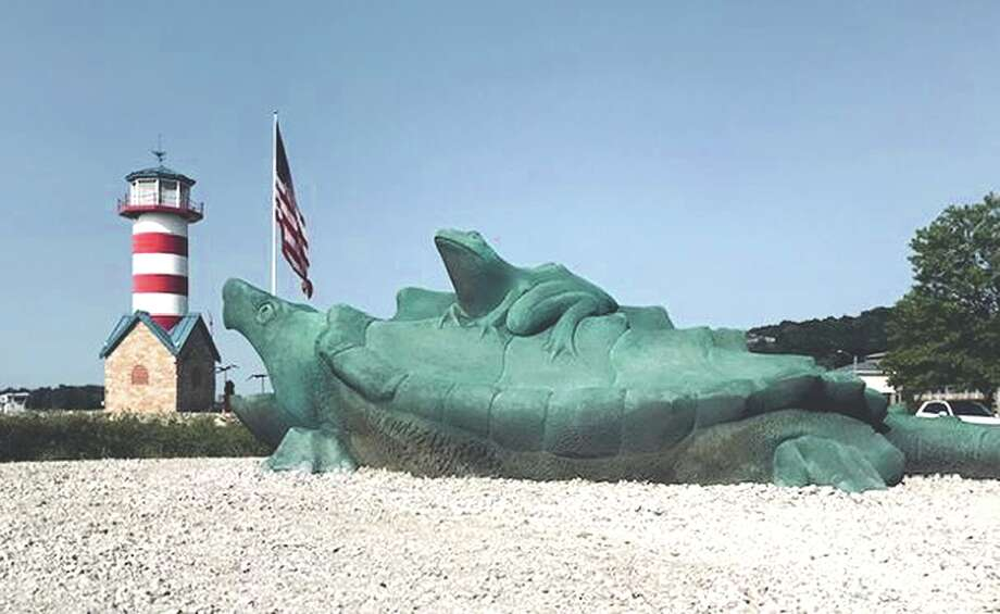 Grafton's Mississippi Riverfront will welcome sculptures of a turtle, a frog and two catfish at a 3 p.m. Sunday ceremony near the lighthouse. Photo: Ron DeBrock | Hearst Illinois
