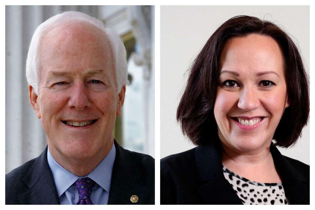 Republican Sen. John Cornyn and Democratic nominee MJ Hegar.
