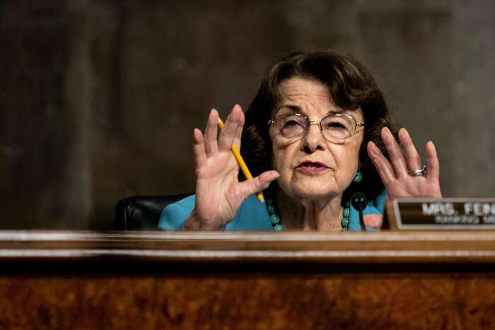 Senate Judiciary Committee Ranking Member Dianne Feinstein (D-CA) speaks during a Senate Judiciary Committee oversight hearing on Capitol Hill in Washington,DC on August 5, 2020, to examine the Crossfire Hurricane investigation. (Photo by Erin Schaff / POOL / AFP) (Photo by ERIN SCHAFF/POOL/AFP via Getty Images)