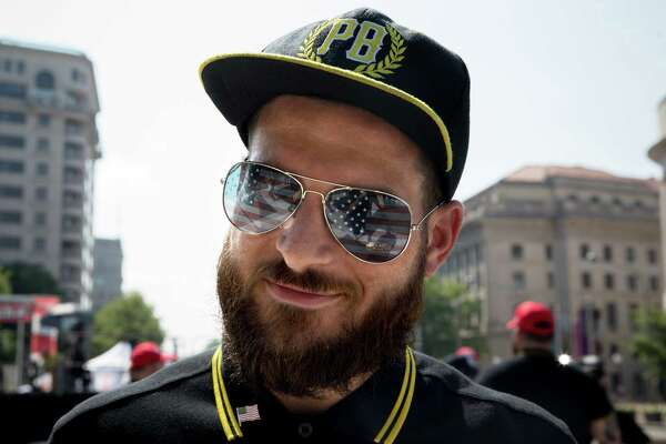 A member of the Proud Boys demonstrates on July 6, 2019, in Washington, D.C.