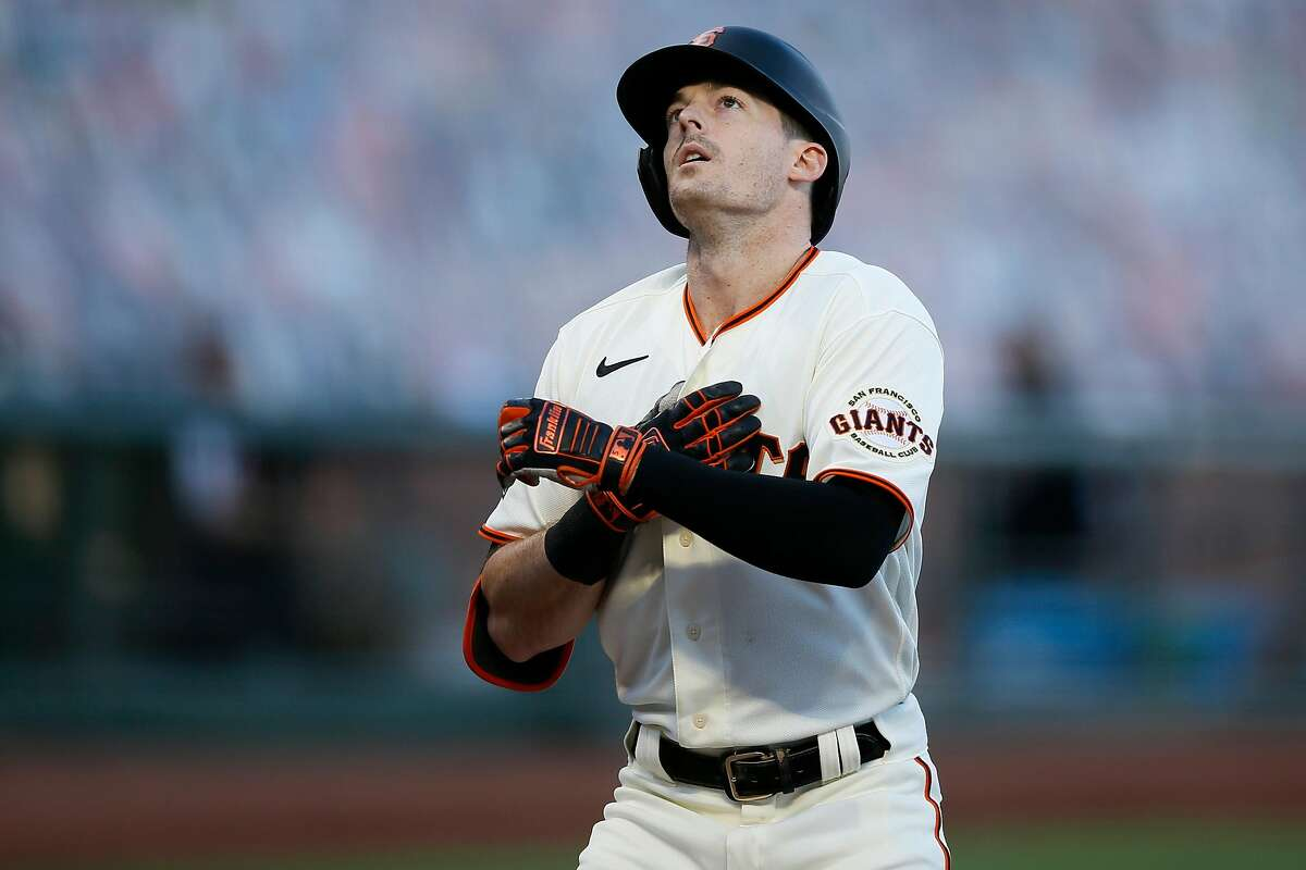 San Francisco Giants right fielder Mike Yastrzemski (5) reacts on his way to home plate after his two-run home run against the San Diego Padres in the second inning during an MLB game at Oracle Park, Friday, Sept. 25, 2020, in San Francisco, Calif. They played in game one of a doubleheader.