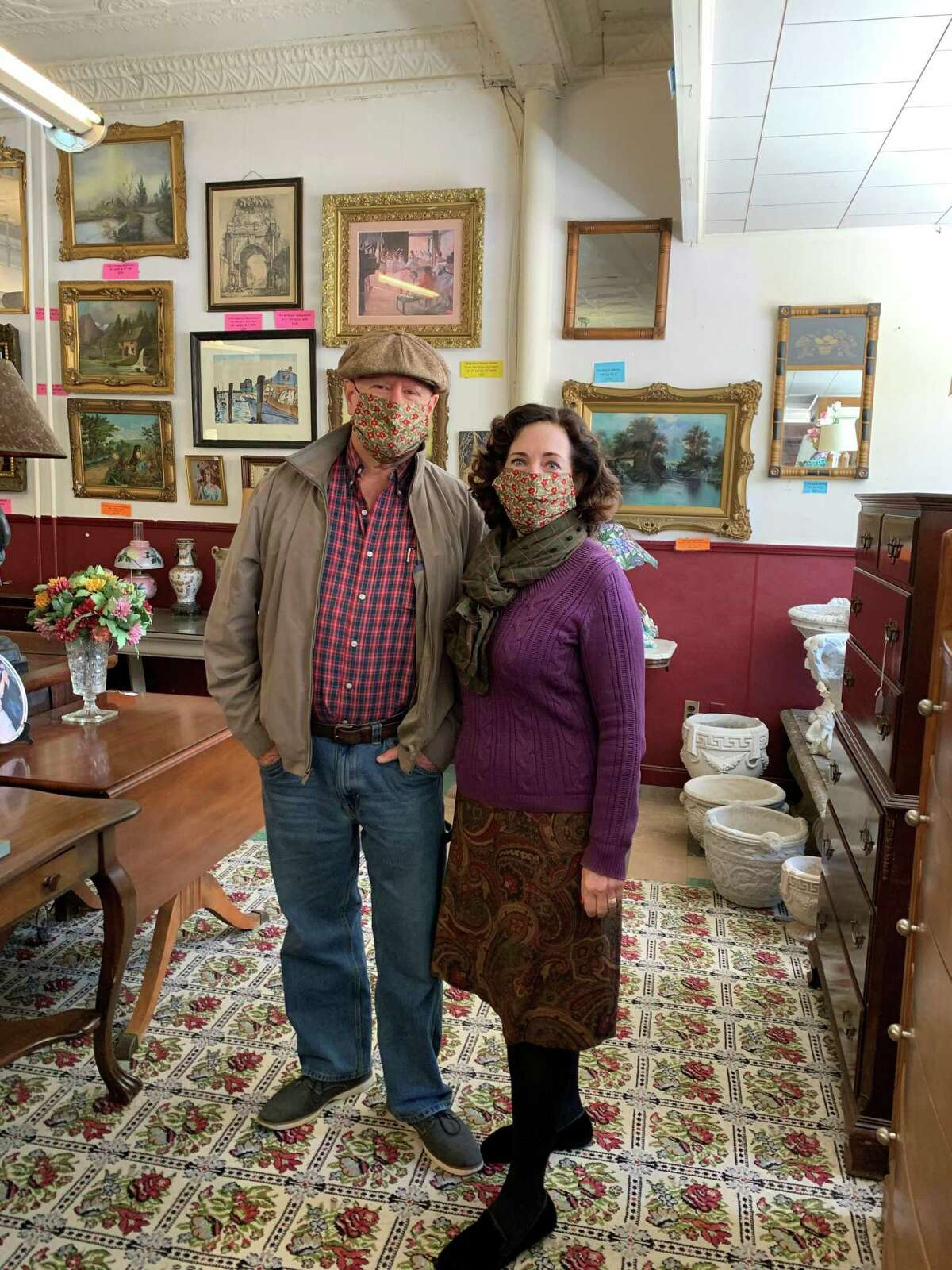 Villa's Corner Gallery reopened Sept. 18. The shop on Route 44 in Winsted offers a wide variety of collectibles, furniture, wall art, jewelry, sculpture, lawn and garden ornaments and other treasures. Above, Deb and Lynn Kessler of Winsted browse the store.