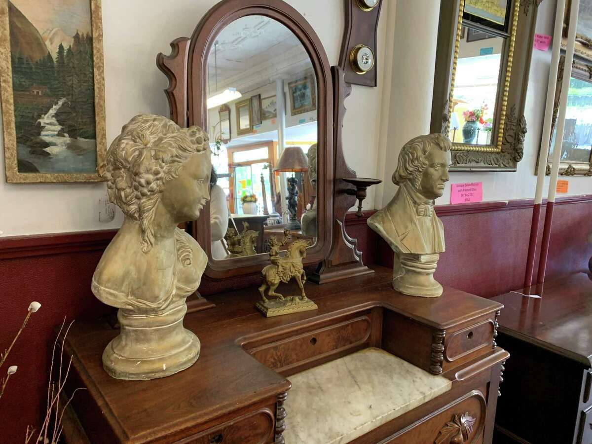 The shop on Route 44 in Winsted offers a wide variety of collectibles, furniture, wall art, jewelry, sculpture, lawn and garden ornaments and other treasures.