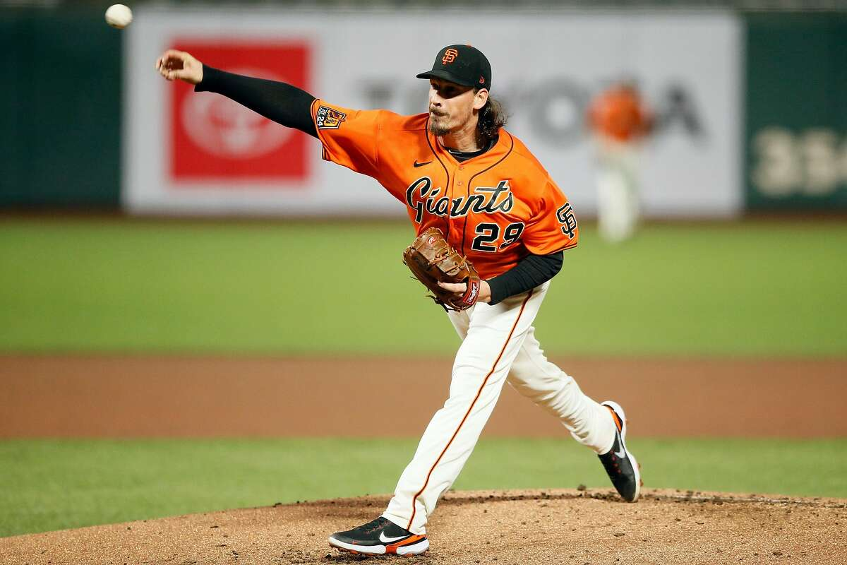 San Francisco Giants pitcher Jeff Samardzija (29) in the first inning of his Friday night start against the Padres.