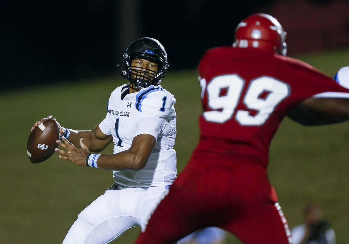 Shadow Creek quarterback Kyron Drones (1) throws the ball against North Shore during the first half of the game at Galena Park ISD Stadium on Friday, Sept. 25, 2020, in Houston.