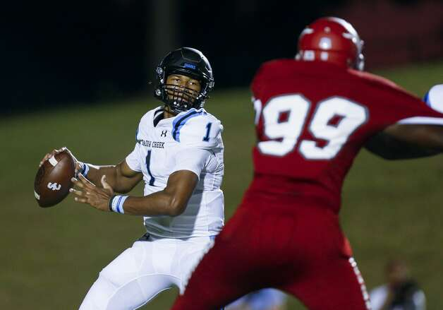 Shadow Creek quarterback Kyron Drones (1) throws the ball against North Shore during the first half of the game at Galena Park ISD Stadium on Friday, Sept. 25, 2020, in Houston. Photo: Godofredo A Vásquez/Staff Photographer / © 2020 Houston Chronicle