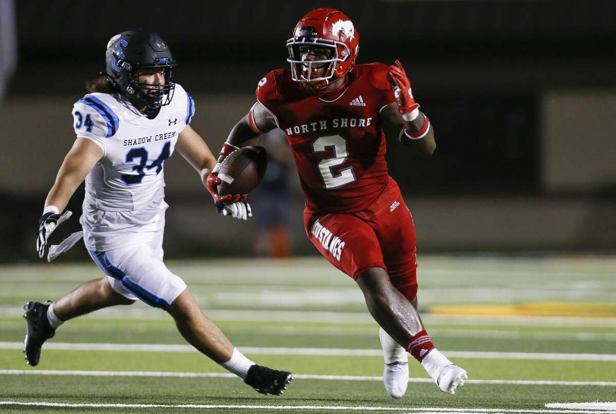 North Shore wide receiver Shadrach Banks (2) returns a punt against Shadow Creek during the second half of the game at Galena Park ISD Stadium on Friday, Sept. 25, 2020, in Houston.