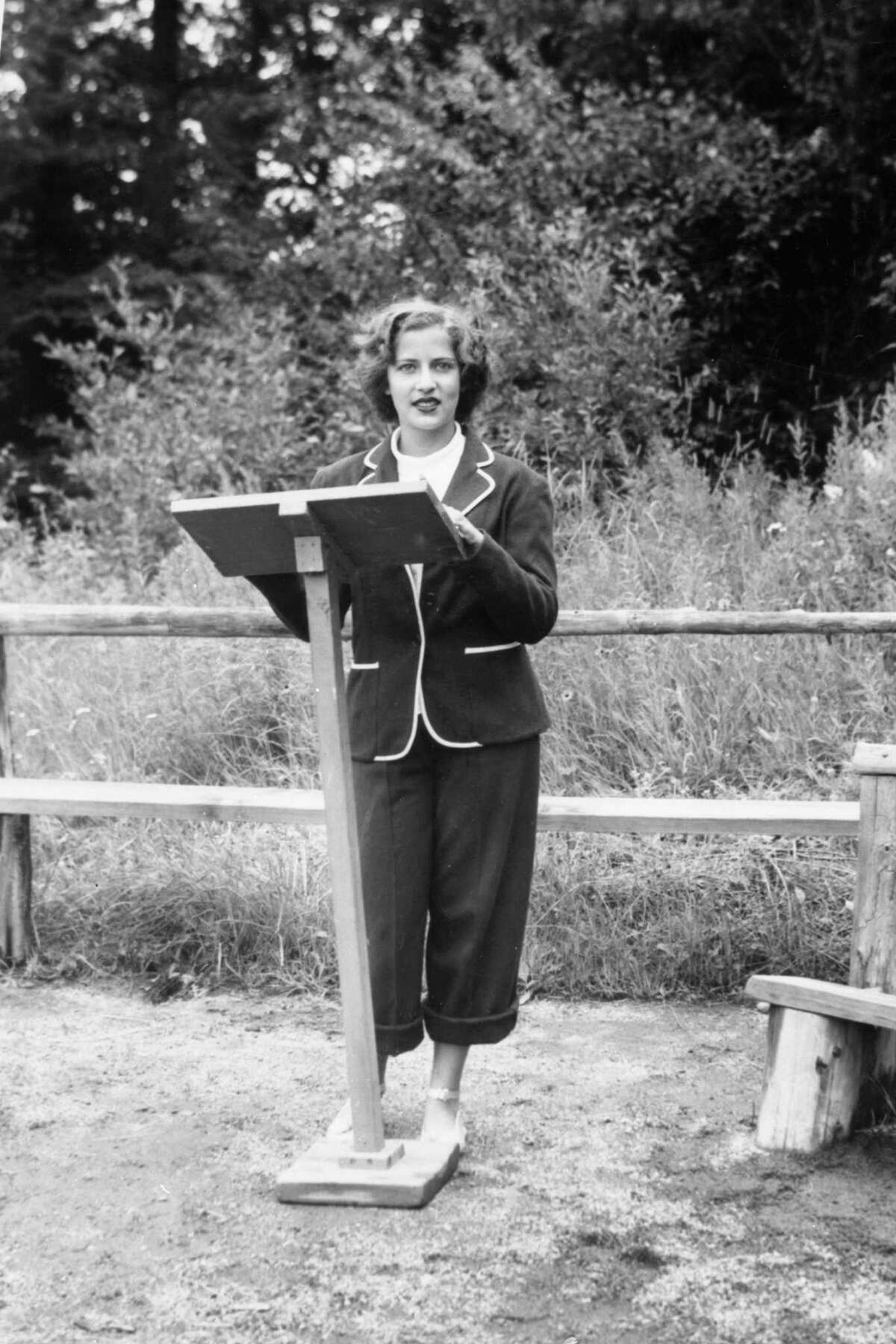 This 1948 photo provided by the Supreme Court shows Ruth Bader, at age 15, giving a sermon as the camp rabbi at Che-Na-Wah in Minerva, N.Y. Supreme Court Justice Ruth Bader Ginsburg died at her home in Washington, on Sept. 18, 2020, the Supreme Court announced. (Collection of the Supreme Court of the United States via AP)