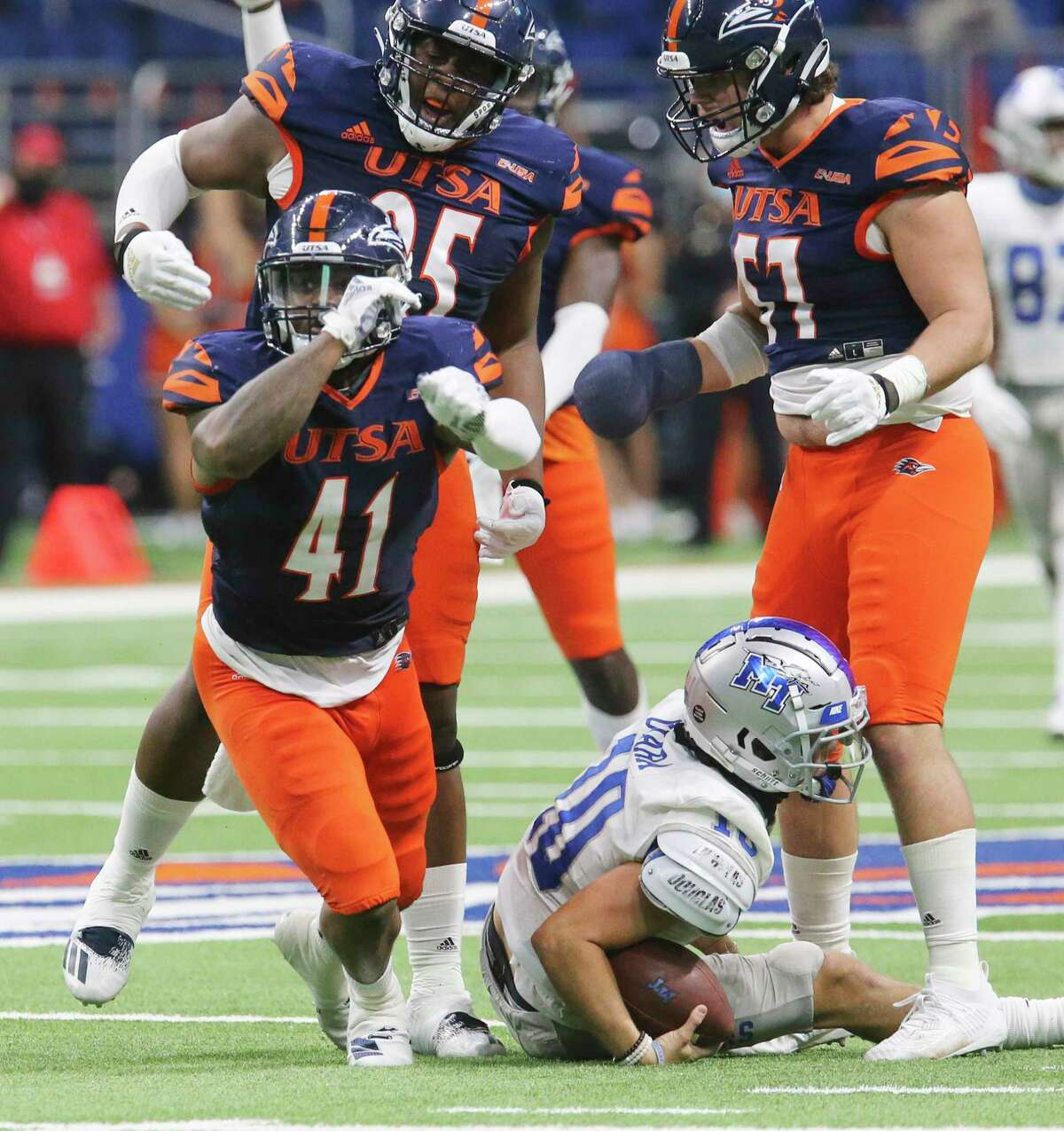 UTSA's De'Marco Guidry (41) reacts after his sack against Middle Tennessee quarterback Asher O'Hara (10) during their game at the Alamodome on Friday, Sept. 25, 2020.
